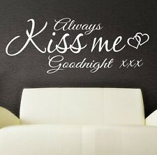 Wall Art Stickers Quote Always Kiss me Goodnight  Wall Decor Decal SVIL08