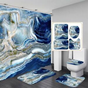 Marble Texture Bathroom Shower Curtain Set No-slip Toilet Cover Rugs Bath Mat