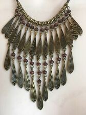 Ralph Lauren Boho Necklace, Antique Gold, Beaded Drop, Corded Statement, NWT $64