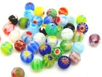 40 Pcs Assorted Mix -  6mm Round Millefiori Glass Beads Jewellery Beading C128