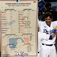 8/22/20 Dodgers Clubhouse Lineup Card BELLINGER WALK-OFF 2020 AUTO MLB COA WS🏆