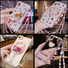 Lujo Bling Colgante Cristal Brillo Diamantes Transparente Blando Teléfono Cubierta Estuche Para LG