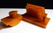 ANTIQUE AMBER CATALIN BAKELITE MARBLE DESK SET Inkwell ART DECO 942 g test simi
