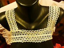 empiécement et bretelles pour caracco ou chemise  nuit crochet main ,fil de lin