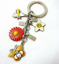 New Coach RARE Flower Butterfly Ladybug Bee Crystal Jewel Key Chain Ring Fob Bag