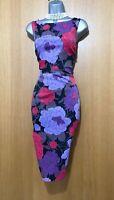 KAREN MILLEN UK 10 Stretch Purple Floral Print Cocktail Race Pencil Dress EU 38