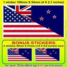 "USA United States America-NEW ZEALAND Flag Aotearoa 100mm(4"") x1+2 BONUS Sticker"