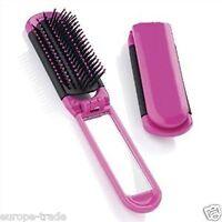 Zazie Girls Travel Folding Hair Brush With Mirror Pocket Size Comb Handbag Size