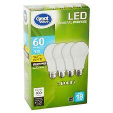 Great Value LED Light Bulb 9W (60w Equivalent) Soft White 4pc X2 =8 light Bulbs