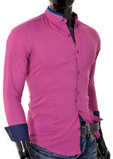 Shirt Casual Formal Stand-up Collar Slim Fit Decorative Band Cotton Many Colours Fuchsia L