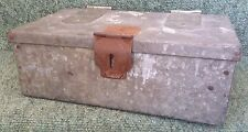 Handmade Vintage Sheet Steel Bench Tool Box with Lift Out Drawer, Copper Rivets