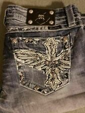NeW ~RARE MISS ME BIKER BLING ANGEL WING SIGNATURE SLIM BOOTCUT JEANS~ SIZE 32