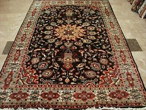 Exclusive Chocolate Brown Area Rug Hand Knotted Wool Silk Carpet (9 x 6)'