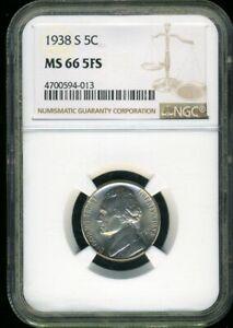 1938-S NGC MS66 5FS Jefferson Nickel 5c Coin JE384