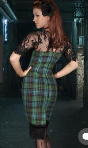KITTEN D'AMOUR Vicious Kitten Tartan Wiggle Dress Size 10 BNWT 224/300 rrp $289