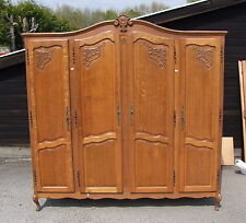 Quality Vintage Louis XV Style French Carved Oak 4 Door Wardrobe  -  (010020)
