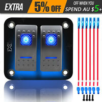 12V 24V SPST Dual LED Light Bar Car Caravan Marine Boat Rv Rocker Switch Panel