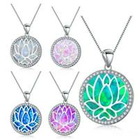 Fashion Round Blue Fire Opal Silver Hollow Lotus Chain Pendant Necklace 2019