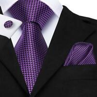 Purple Novelty Mens Tie Woven Silk Necktie Set Hanky Cufflinks Label Pin Wedding