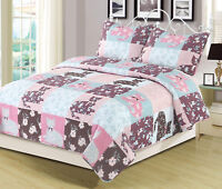 Twin, Full/Queen, or King Quilt Floral Patchwork Cats Bedspread Bedding Set