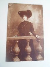 Vintage Postcard Lady in Retro Vintage Fashion With a Huge Hat