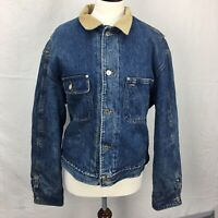 VTG 80s Made in USA Polo Ralph Lauren Flannel Lined Denim Jean Mens Jacket L