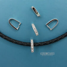 5PC Sterling Silver 10mm Pinch Pendant Bail Clasp Connector w/ CZ Crystal #33351