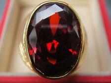 # 16 Men Man Gold 24K Ring Single Orange Sapphire CZ Gemstone Thailand Solitaire