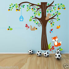 Kids Wall Stickers Woodland Animals Fox,Birds and Squirrel with Acorn Tree