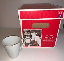 TARGET Holiday 09 Set of 12 Porcelain Mugs WHITE/GOLD RIM 12 fl.oz. NWT Boxed