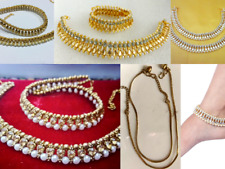 PAIR OF NEW PEARL GOLDEN STUNNING PAYAL ANKLET ANKLE CHAIN INDIAN BOLLYWOOD