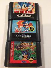 Sonic The Hedgehog 1 2 3 I II III Sega Genesis Games Lot CLEANED TESTED WORKING