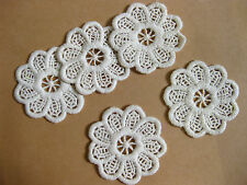 AC6 vintage cream round flower cotton sewing applique lace patch 6.5cm, 5 pcs
