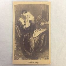 Antique Album Filler Card The First Step Victorian Mother Infant Baby Child VTG