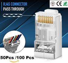 100pcs EZ RJ45  CAT6 Shielded Pass Through Modular Plug Network Cable Connector