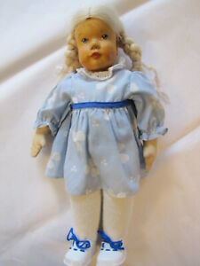 "Vintage German Krahmer Wooden Head Doll with Cloth Body - Flaxen Hair ~ 13"" Tall"