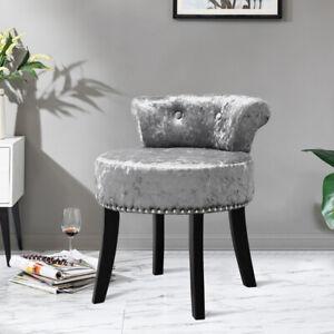 Retro Ice Velvet Low Back Dressing Stool w/ Black High Legs Living Room Bedroom
