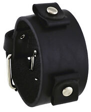 Nemesis GB-K Women's Black Wide Leather Cuff Wrist Watch Band