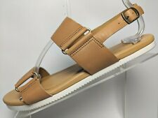 Teva Flat Sandal Slingback Buckle Open Toe Brown Tan Leather Womens 9.5 M $80