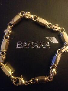"Baraka & Sauro style, gold tone, high ends, 26.6g man's bracelet, size  8"""