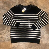 Charter Club Womens Pullover Sweater Black Stripe Long Sleeve Crew Neck S New