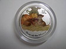 """Australia, 0,5 dólares 2008 St, lunar II """"año del ratón"""", plata con color"""