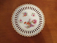 Vtg Possibly Antique Pierced Porcelain Plate w/ Floral Decoration Marked Bavaria