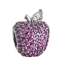 New Authentic Pandora Sterling Silver Red Pave Apple Charm Bead 791485CFR