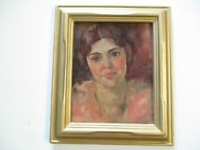 MASTERFUL  IMPRESSIONIST PAINTING PRETTY WOMAN FEMALE MODEL 1930'S SIGNED OLD