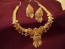 GOLD PLATED EARRINGS NECKLACE SET INDIAN STYLE BOLLWOOD BRIDAL WEDDING
