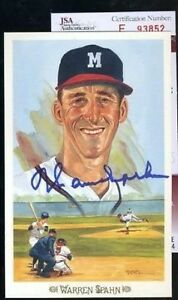 Warren Spahn Jsa Signed Perez Steele Celebration Autograph Authentic