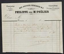 """BORDEAUX (33) CHEMINEES POELES CALORIFERES FOURNEAUX """"PHILIPPE Fils"""" en 1862"""