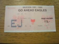 19/10/1991 Ticket: Go Ahead Eagles v NAC Breda (Folded). No obvious faults, unle