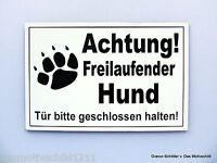 Achtung freilaufender Hund,Gravur Schild,12 x 8 cm,Hundeschild,Warnschild,Neu